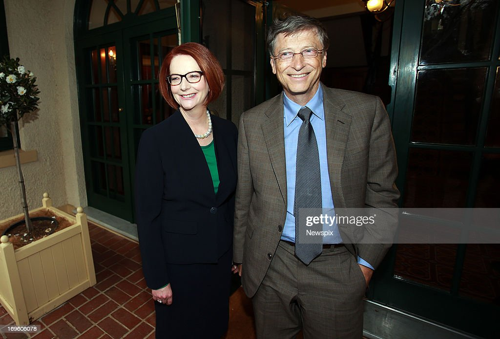 Microsoft co-founder, <a gi-track='captionPersonalityLinkClicked' href=/galleries/search?phrase=Bill+Gates&family=editorial&specificpeople=202049 ng-click='$event.stopPropagation()'>Bill Gates</a> meets with Australian Prime Minister <a gi-track='captionPersonalityLinkClicked' href=/galleries/search?phrase=Julia+Gillard&family=editorial&specificpeople=787281 ng-click='$event.stopPropagation()'>Julia Gillard</a> at The Lodge on May 28, 2013 in Canberra, Australia. <a gi-track='captionPersonalityLinkClicked' href=/galleries/search?phrase=Bill+Gates&family=editorial&specificpeople=202049 ng-click='$event.stopPropagation()'>Bill Gates</a> is in Canberra today to lobby the government for increased spending on foreign aid. The Labor government announced it will slow it's growth in foreign aid spending after a $19.4AUD billion budget deficit was revealed in May.