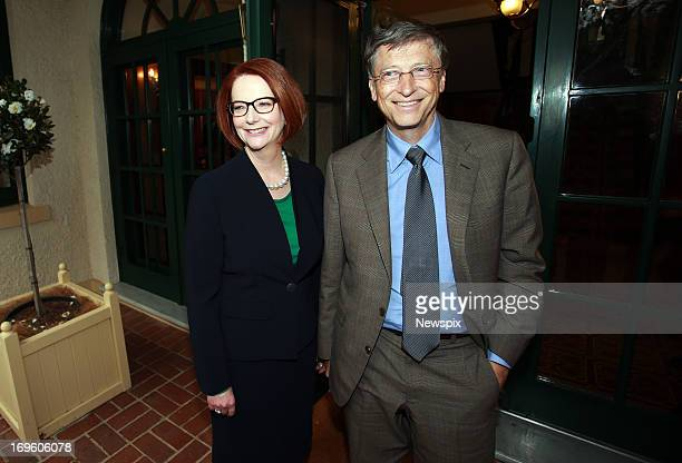 Microsoft cofounder Bill Gates meets with Australian Prime Minister Julia Gillard at The Lodge on May 28 2013 in Canberra Australia Bill Gates is in...