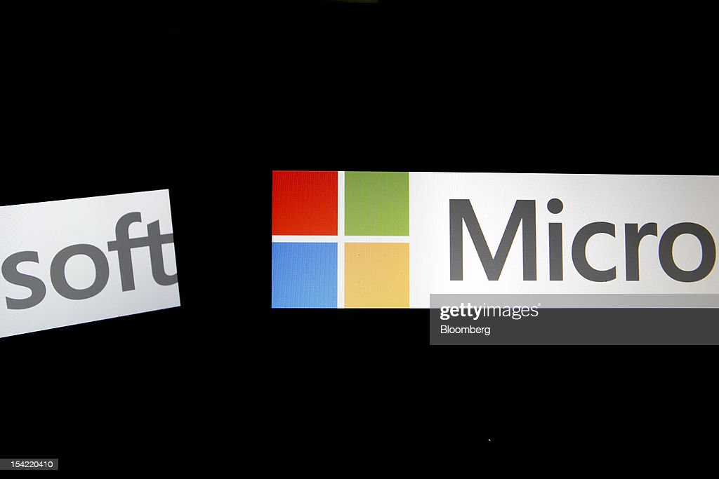 Microsoft Corp. logos are displayed on computer screens for a photograph in Washington, D.C., U.S., on Monday, Oct. 15, 2012. Microsoft Corp. is scheduled to release earnings data on Oct. 18. Photographer: Andrew Harrer/Bloomberg via Getty Images