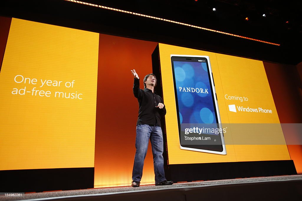 Microsoft Corporate Vice President Joe Belfiore unveils Windows Phone 8's Pandora integration feature during a product launch at Bill Graham Civic Auditorium on October 29, 2012 in San Francisco, California. The Windows Phone 8 marks the Seattle-based company's latest update from its two-year-old Windows Phone 7 platform as the company looks to regain its traction in the increasingly dense smartphone segment dominated by rivals Apple and Google.