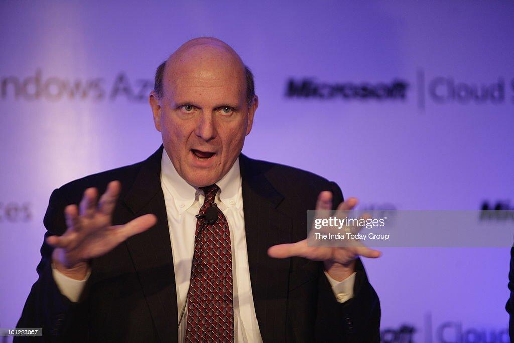 Microsoft Corporation's Chief Executive Officer Steve Ballmer address the media in New Delhi on Thursday, May 27, 2010.