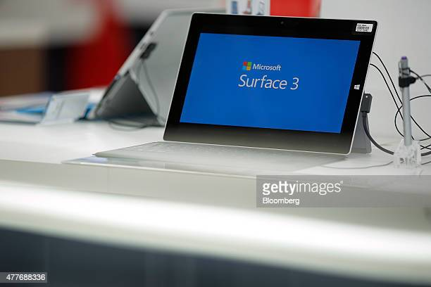 Microsoft Corp's Surface 3 LTE tablet device sits on display at a Bic Camera Inc electronics store in Tokyo Japan on Friday June 19 2015 Microsoft...