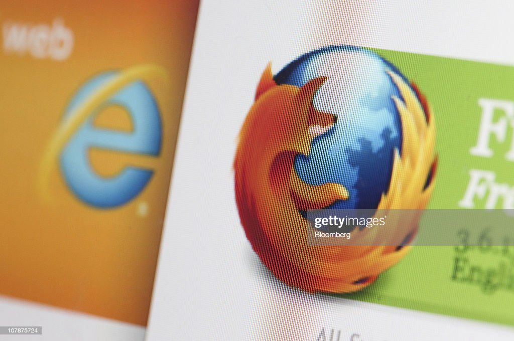 Microsoft Corp.'s Windows Internet Explorer logo, left, is displayed next to the Mozilla Corp.'s Firefox logo on a computer monitor in London, U.K. on Wednesday, Jan. 5, 2011. Mozilla Corp.'s Firefox topped Microsoft Corp's Internet Explorer in Europe for the first time last month to become the region's most-used web browser. Photographer: Chris Ratcliffe/Bloomberg via Getty Images