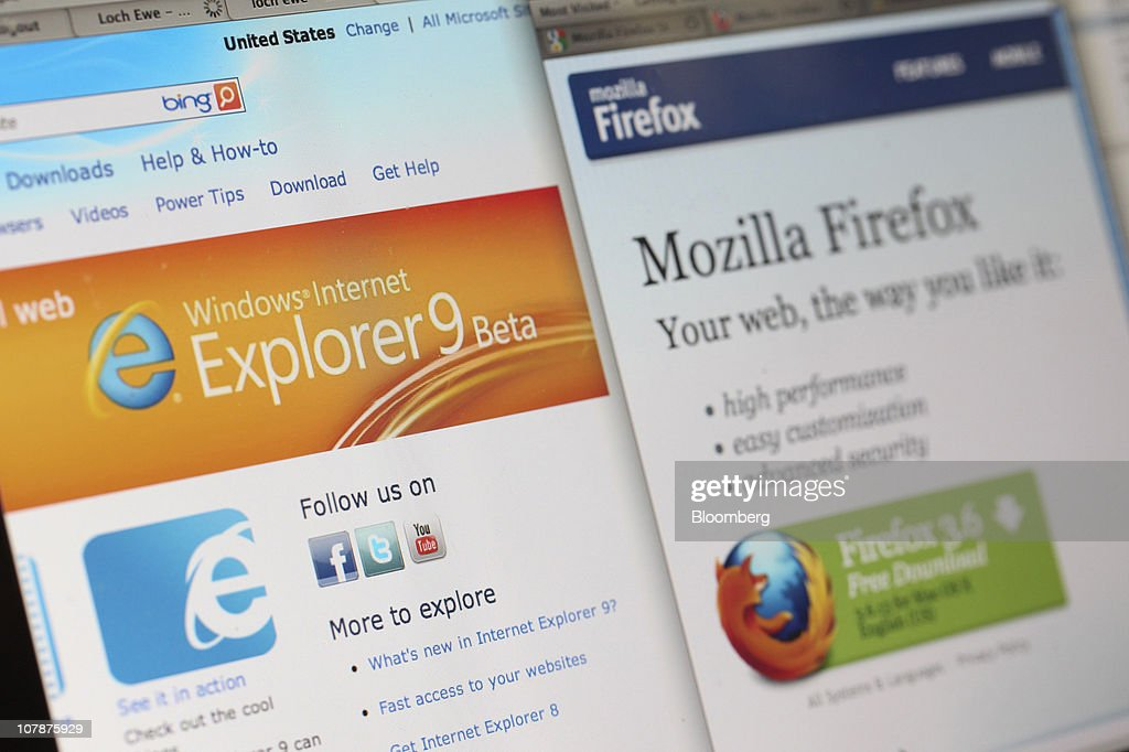 Microsoft Corp.'s Windows Internet Explorer logo, left, is displayed next to the Mozilla Corp.'s Firefox web browser on a computer monitor in London, U.K. on Wednesday, Jan. 5, 2011. Mozilla Corp.'s Firefox topped Microsoft Corp's Internet Explorer in Europe for the first time last month to become the region's most-used web browser. Photographer: Chris Ratcliffe/Bloomberg via Getty Images