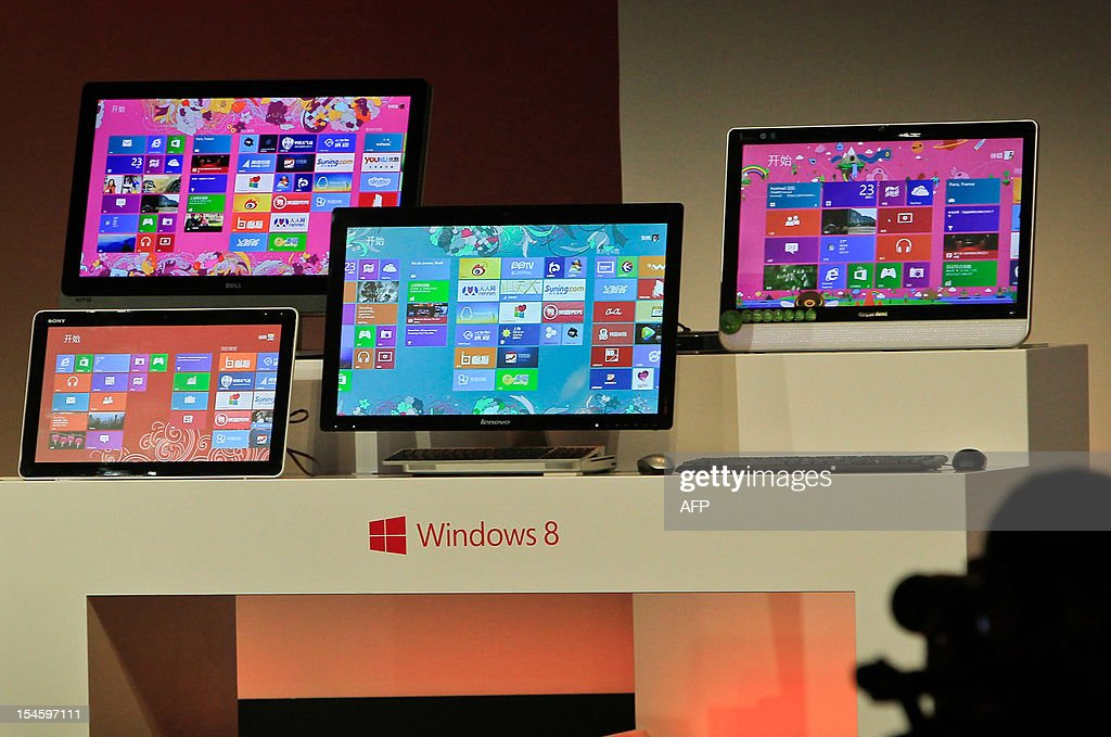 Microsoft displays its new tablet computer and Windows 8 software to the media in Shanghai on October 23 2012 US computing giant Microsoft on October...