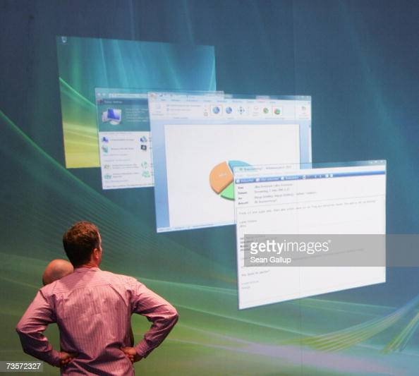 Microsoft employee prepares a presentation of the new Vista operating system at the Microsoft stand at the CeBIT technology fair a day before the...