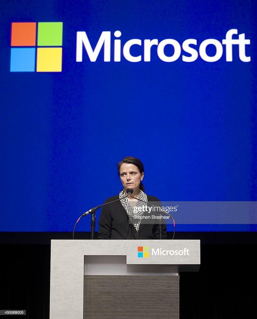 Microsoft Executive Vice President and CFO Amy Hood speaks during the Microsoft Shareholders Annual Meeting November 19, 2013 in Bellevue, Washington. Hood is Microsoft's first female CFO.