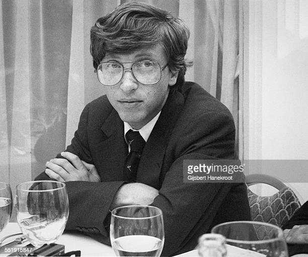 Microsoft founder and CEO Bill Gates during a press conference in Amsterdam Netherlands c 1986