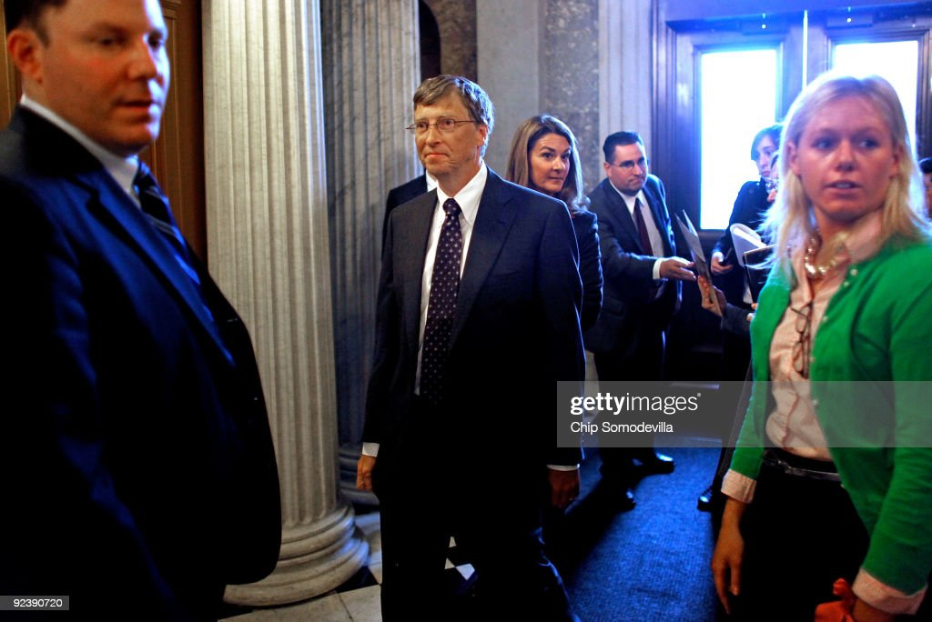 Microsoft founder Bill Gates and his wife Melinda Gates leaves after addressing a weekly Republican policy luncheon in the US Capitol October 27 2009...