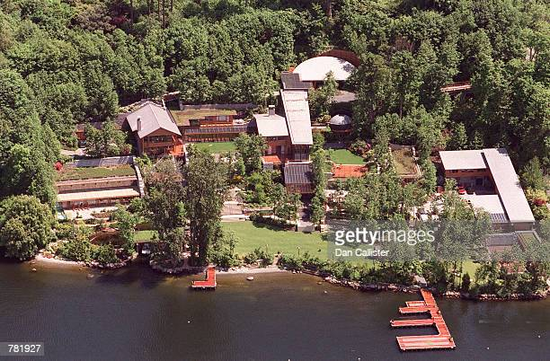 Microsoft founder Bill Gates'' home lines the banks of Lake Washington May 30 2001 in Seattle Washington Despite 37000 square feet of living space in...