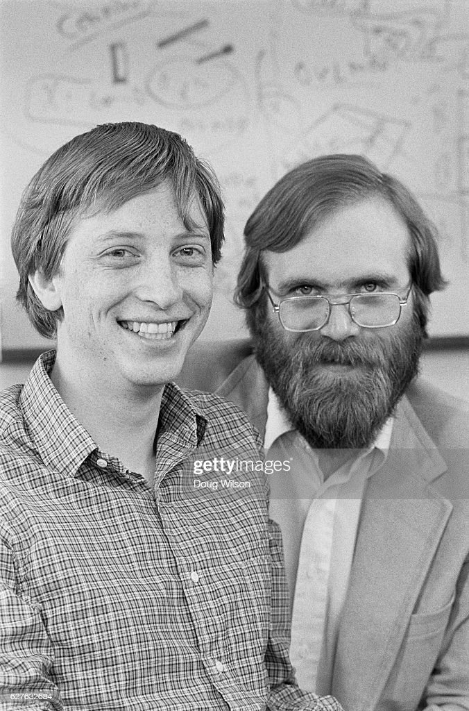 Microsoft founders Bill Gates and Paul Allen in 1983 just after completing MS Dos for the Tandy laptop and signing a contract to write MS Dos for IBM. Microsoft Company had 100 employees in an office in downtown Bellevue, Washington.