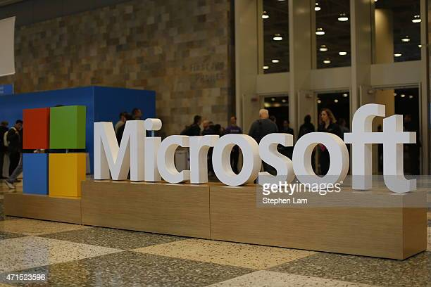 Microsoft logo is seen during the 2015 Microsoft Build Conference on April 29 2015 at Moscone Center in San Francisco California Thousands are...
