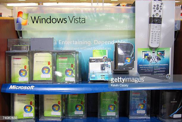 Microsoft products are on display at a Fry's electronic store May 4 2007 in Renton Washington Microsoft stocks rose on Friday as they considered a...