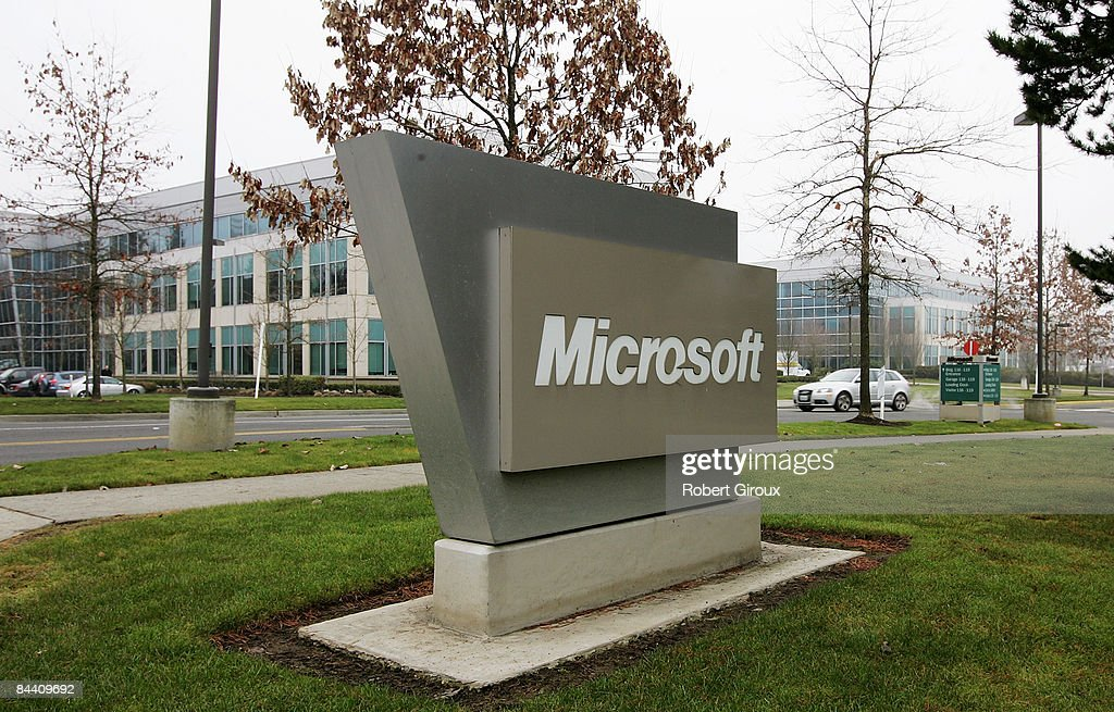 A Microsoft sign sits on their campus January 22, 2009 in Redmond, Washington. The company annouced earlier today they would be laying off up to 5000 employees within the next 18 months.