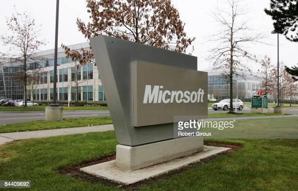 Microsoft sign sits on their campus January 22 2009 in Redmond Washington The company annouced earlier today they would be laying off up to 5000...