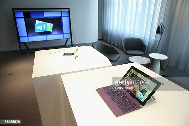 Microsoft Surface 2 tablet and a Nokia Lumia phone stand on display in the new Microsoft Berlin center on November 5 2013 in Berlin Germany The...