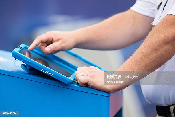 Microsoft Surface is interacted with on the sidelines of the game between the Buffalo Bills and the Carolina Panthers on August 14 2015 during a...