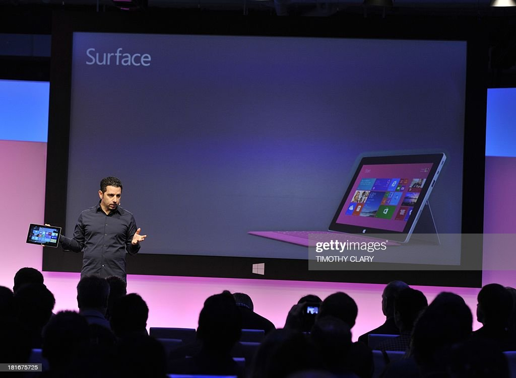 Microsoft Vice President Panos Panay, during a news conference to introduce the Microsoft Surface 2 in New York September 23, 2013. The tablet is a full laptop in a tablet design, said Panay, who added that the graphics performance is 50 percent better and its battery life 20 percent longer than its predecessor. AFP PHOTO / TIMOTHY CLARY