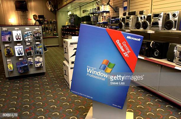 A Microsoft Windows XP display at a Mall of America store the new operating system making its market debut on October 25