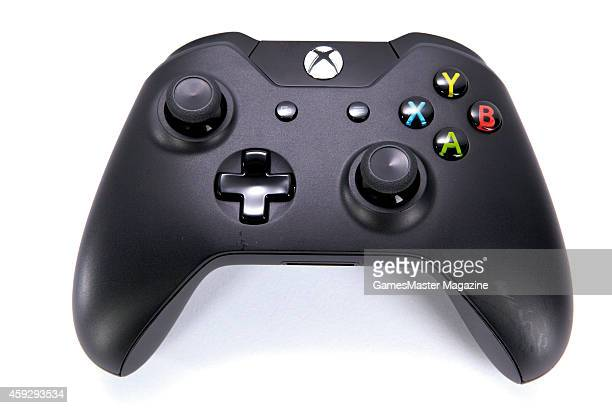 A Microsoft Xbox One wireless controller photographed on a white background taken on September 12 2013