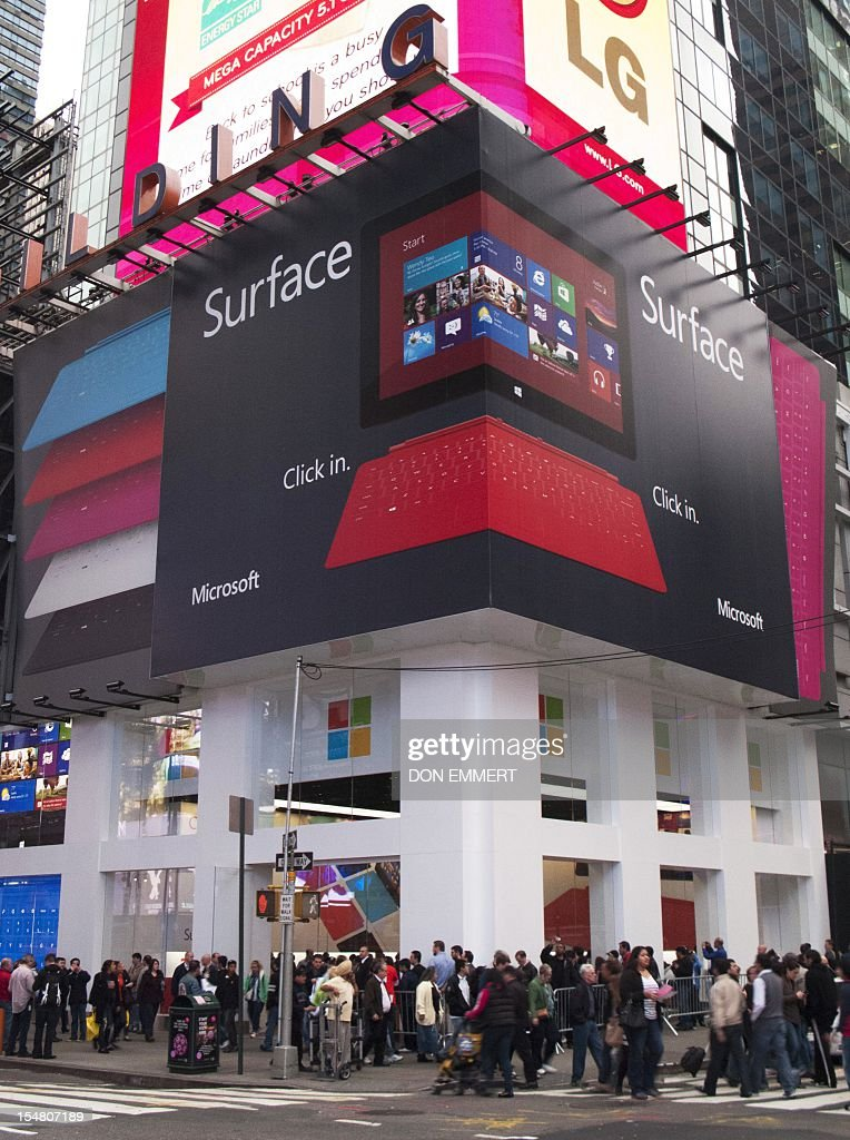 Microsoft's pop-up store, set up on the corner of 46th Street in Times Square to mark the release of its Surface tablet, October 26, 2012 in New York. The store is one of more than 30 stores around the US showing off the Microsoft Surface and the new Windows 8 operasting system. AFP PHOTO/DON EMMERT