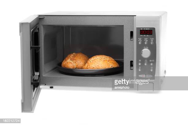 microwave on white with bread rolls