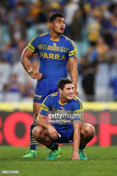 Micthell Moses and Kirisome Auva'a of the Eels show signs of dejection at full time during the round 11 NRL match between the Parramatta Eels and the...