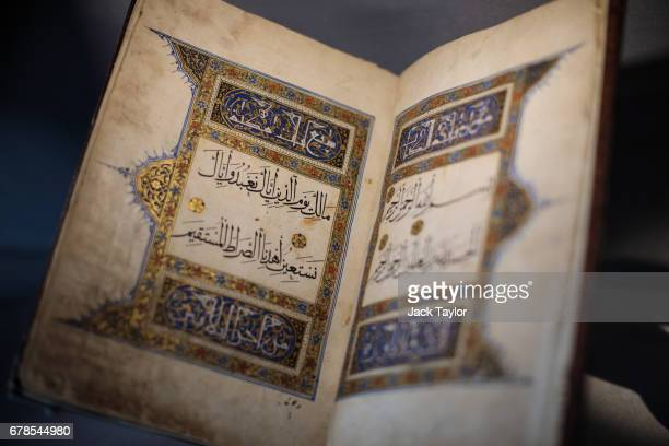 A mid 16th Century magnificent Safavid Qur'an from Iran on display at 5 Cromwell Place on May 4 2017 in London England British art dealer Oliver...