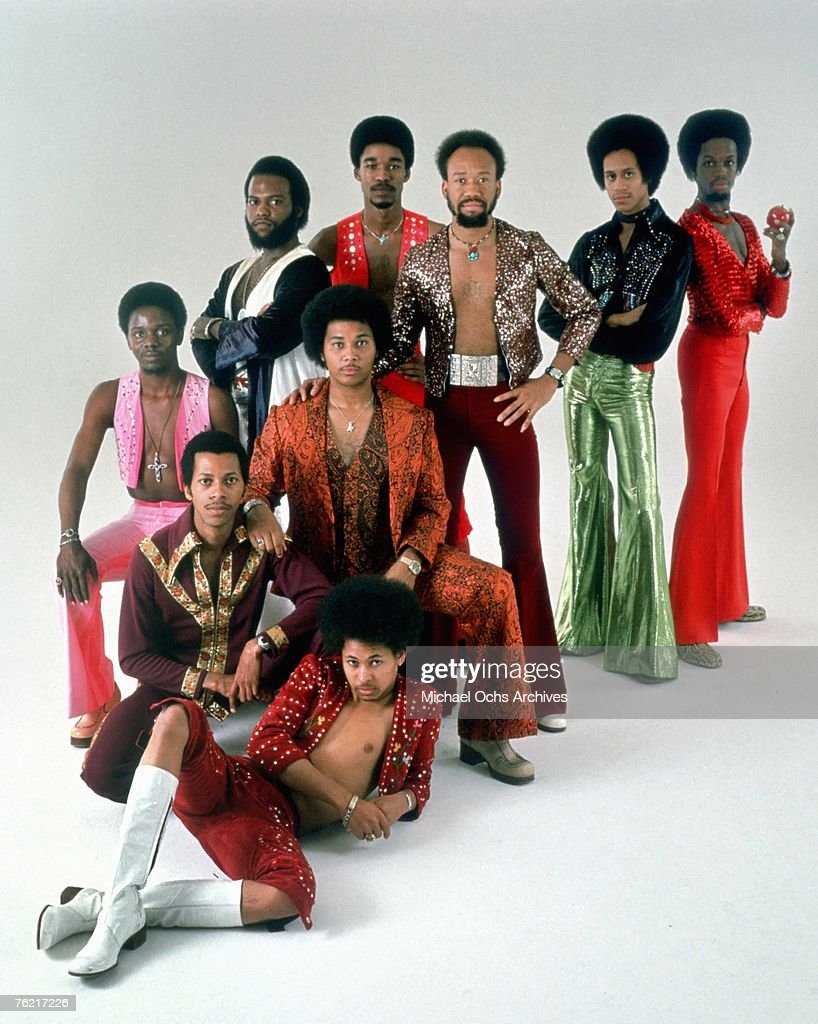 R B group Earth Wind Fire pose for a studio portrait circa the mid 1970s