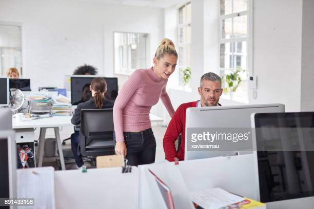 Mid adult businessman working together with his colleague in the office