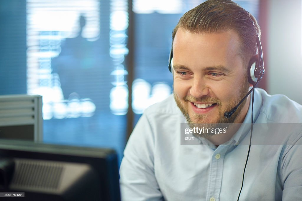 mid adult call centre call handler : Stock Photo