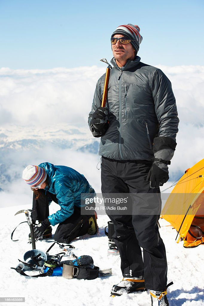 Mid adult couple by tent, Chamonix, France : Stock Photo