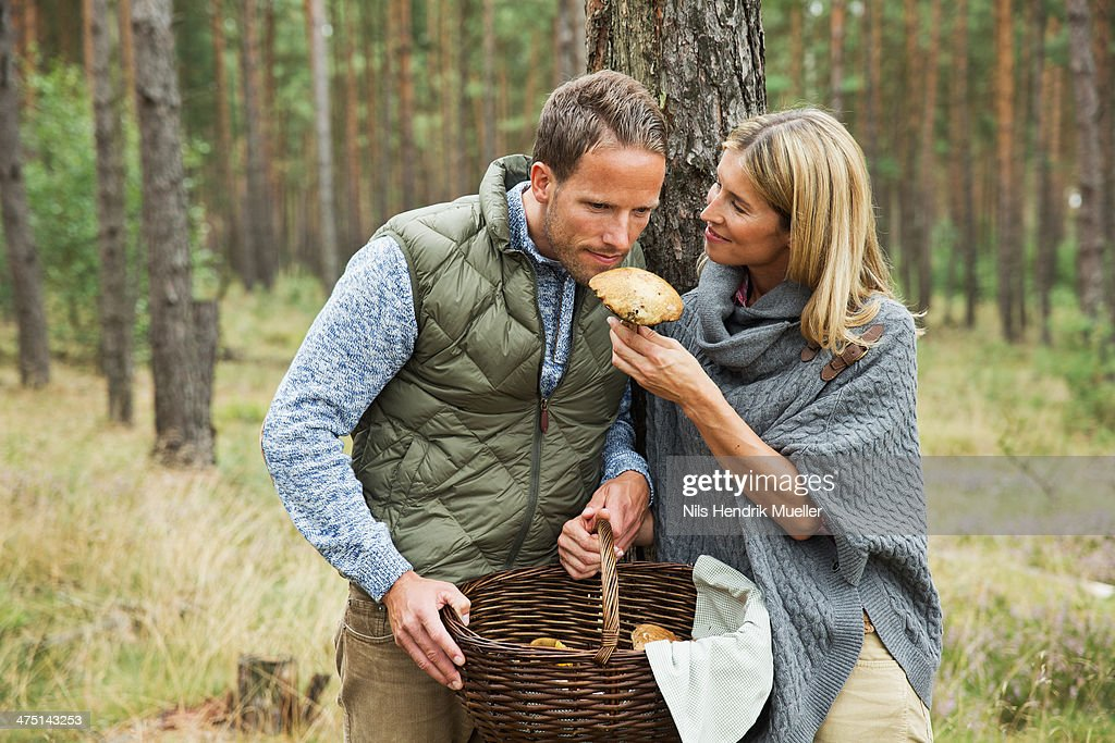 Mid adult couple foraging for mushrooms in forest
