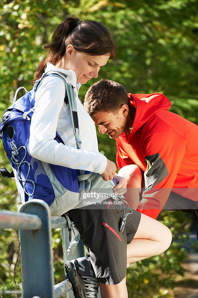 Mid adult couple out hiking : Stock Photo