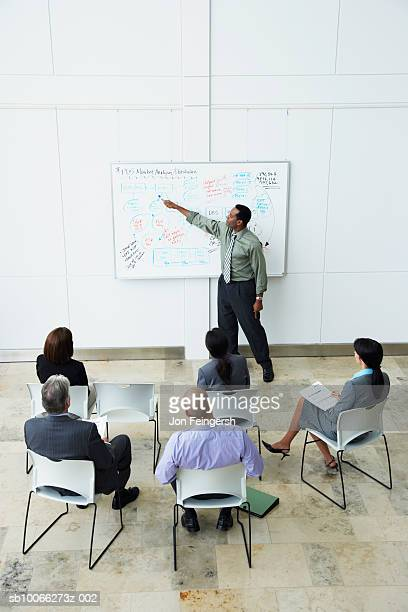 Mid adult man giving presentation to colleagues in meeting, elevated view