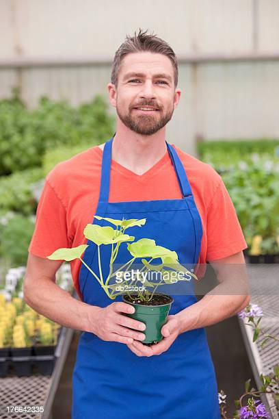 Mid adult man holding plant in garden centre, portrait