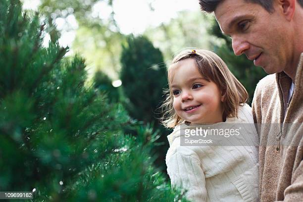 Mid adult man shopping with his daughter for a Christmas tree