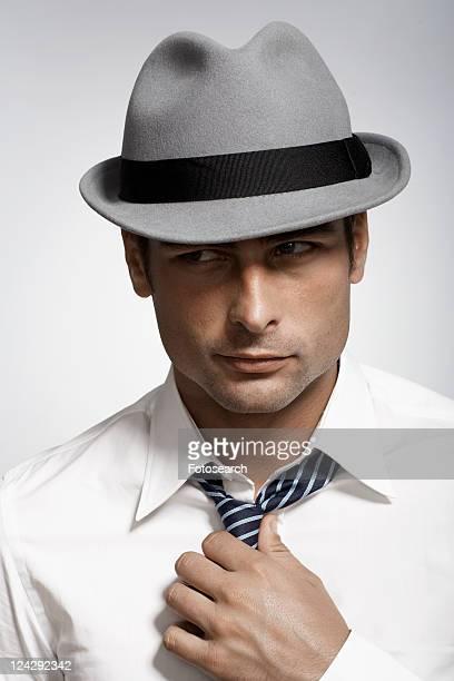 Mid adult man wearing fedora
