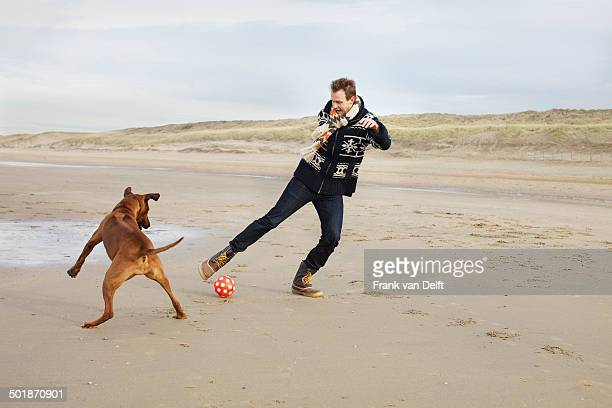 Mid adult man with dog playing football on beach, Bloemendaal aan Zee, Netherlands