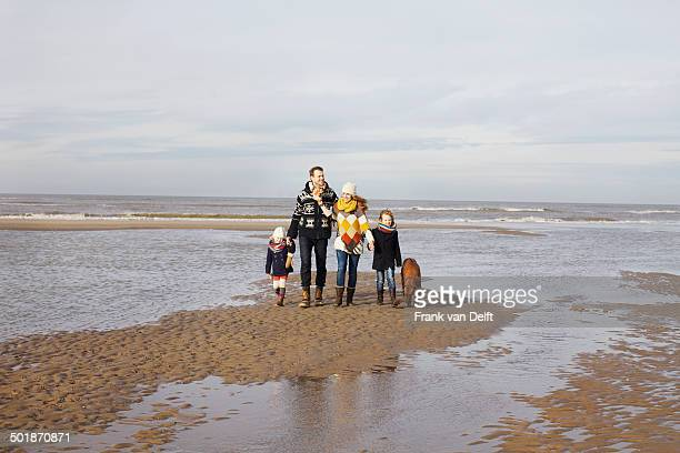 Mid adult parents with son, daughter and dog strolling on beach, Bloemendaal aan Zee, Netherlands