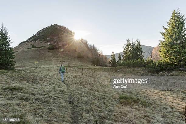 Mid adult woman hiking in Achensee, Tyrol, Austria