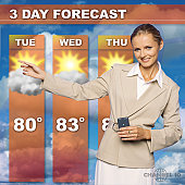 Mid adult woman presenting the weather forecast on tv