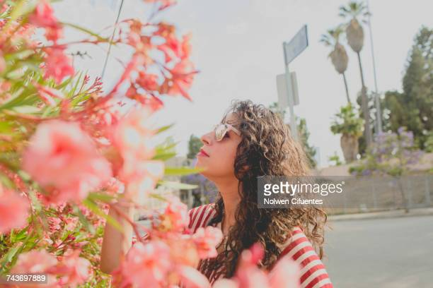 Mid adult woman standing by pink flowers on sunny day, Los Angeles, California, USA