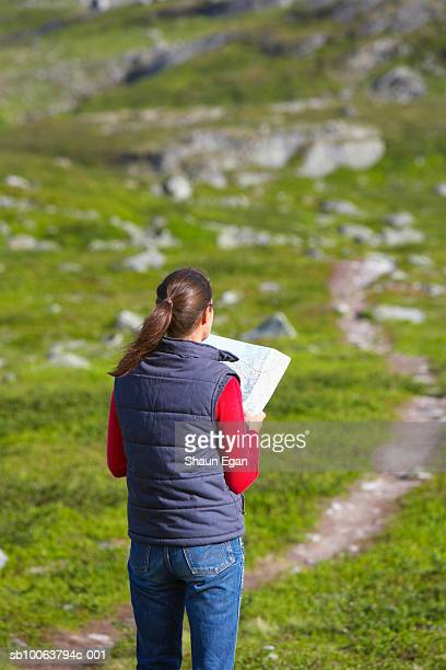 Mid adult woman studying map on trail, rear view