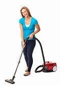 Mid Adult Woman Vacuum Cleaning - Isolated