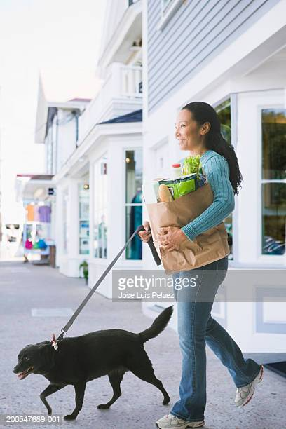 Mid adult woman walking dog, carrying bag of groceries in street