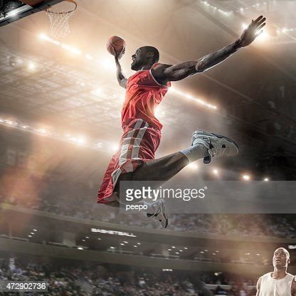 Mid Air Basketball Slam Dunk Jump
