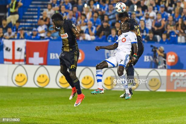 Mid air collision between Philadelphia Union defender Giliano Wijnaldum and Montreal Impact forward Dominic Oduro during the Philadelphia Union...