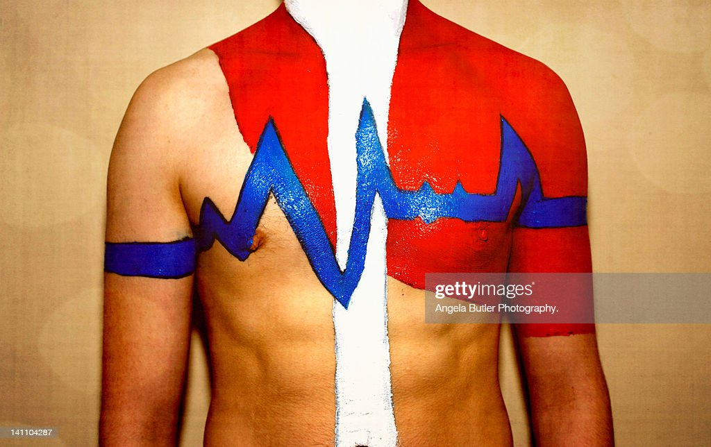 Mid section of man showing body energy : Stock Photo