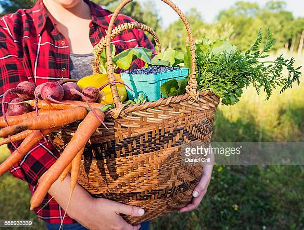 Mid section of woman holding basket with vegetables and fruits